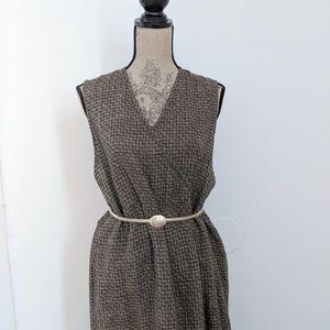 Flax Linen Maxi Wrap Dress Pattern Black Gold sz M
